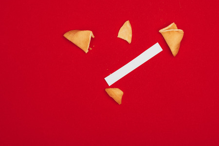 opened traditional chinese fortune cookie, Chinese New Year concept Stock Photo