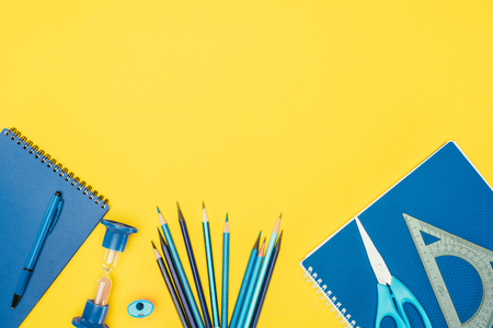 Top view of composition of colorful school supplies Reklamní fotografie - 93209934