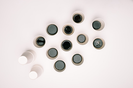 top view of many disposable coffee cups
