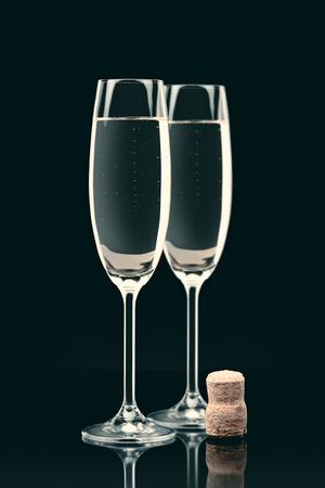 two transparent glasses of champagne Фото со стока