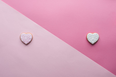 st valentines day flat lay with glazed heart shaped cookies Stock Photo