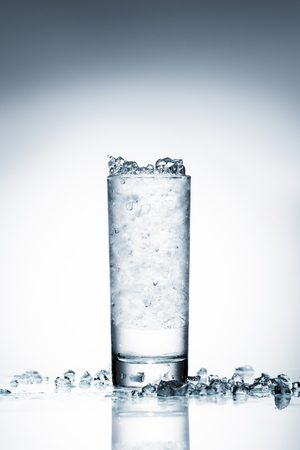 glass of cold water with crushed ice