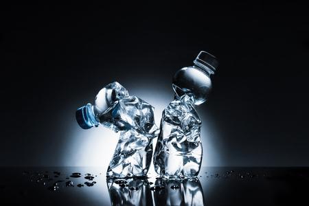 crumpled plastic bottles of water Stock fotó