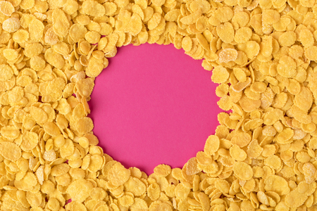 top view of circle made in healthy organic corn flakes