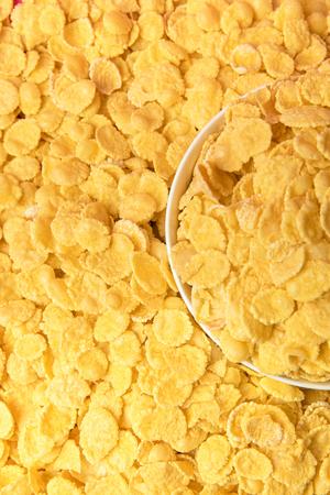 tasty crispy corn flakes and white bowl