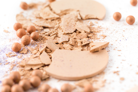 close-up shot of spilled cosmetic powder Stock Photo