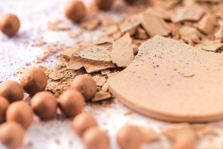 close-up shot of nude cosmetic powder Stock Photo