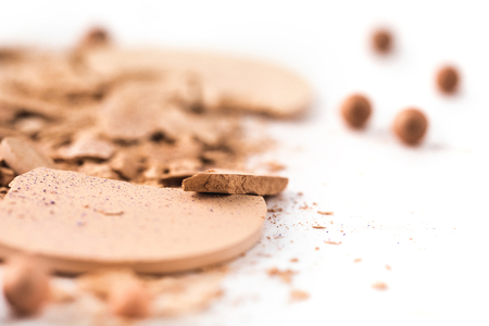 close-up shot of cracked nude cosmetic powder Stock Photo