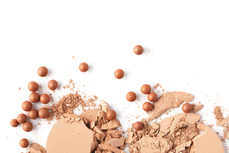 top view of crushed nude cosmetic powder