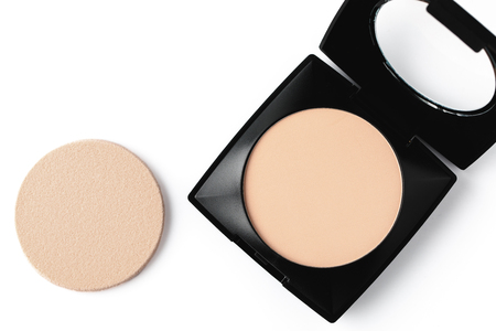top view of compact powder and sponge