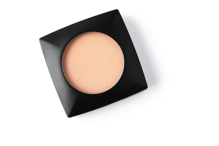 cosmetic powder in black plastic container 스톡 콘텐츠