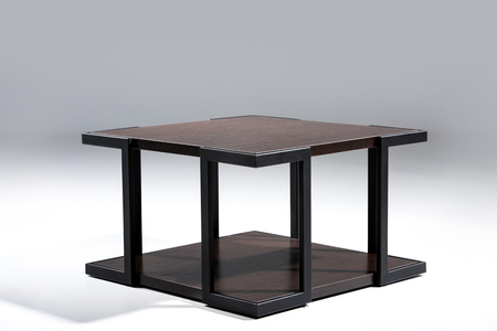 Stylish table with brown wooden top