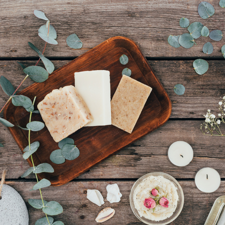 top view of natural soap, spa treatment and salt scrub Stock Photo