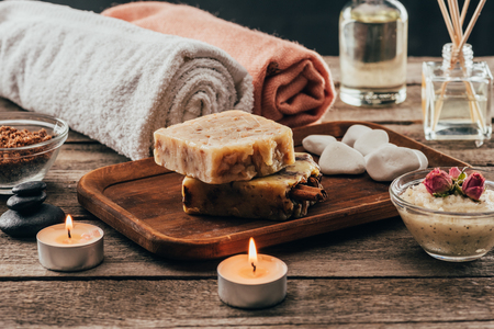 towels, homemade soap, spa treatment and candles