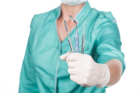 プロの歯科医が楽器を持っている 写真素材