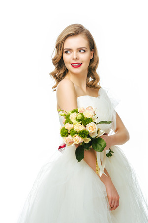 portrait of beautiful smiling bride with wedding bouquet Stock Photo - 93600334