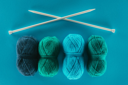 knitting yarn with knitting needles Reklamní fotografie