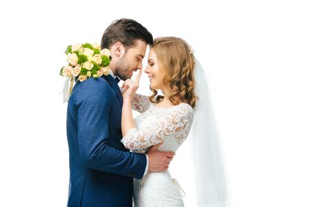 young wedding couple isolated on white 版權商用圖片