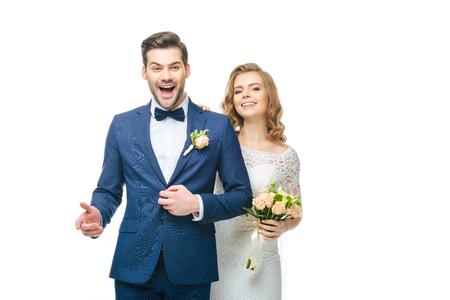 happy young wedding couple isolated on white