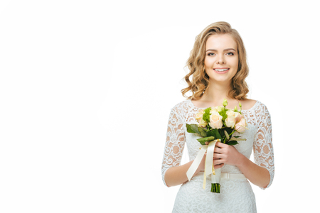 young bride with wedding bouquet in hands isolated on white Stock Photo - 93601183
