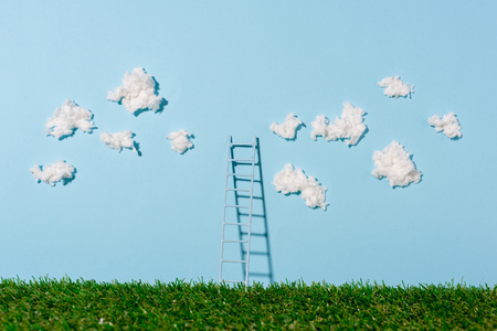 ladder standing on green grass and blue sky with clouds