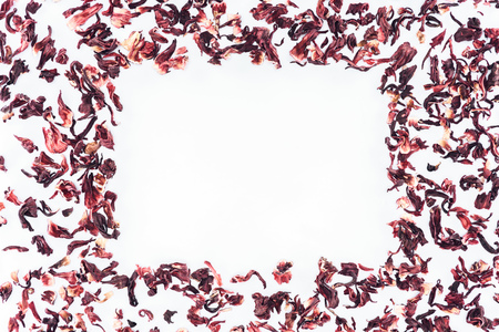 frame made with hibiscus tea isolated on white Stock Photo