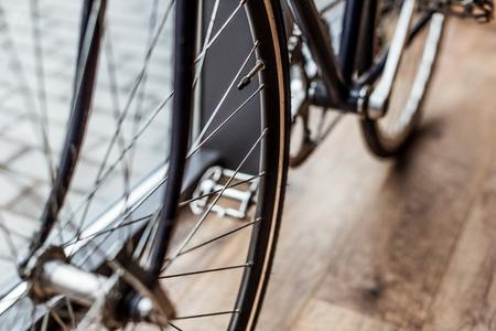 bicycle on wooden floor in house Reklamní fotografie