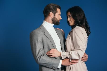 attractive boyfriend and girlfriend hugging Stock Photo