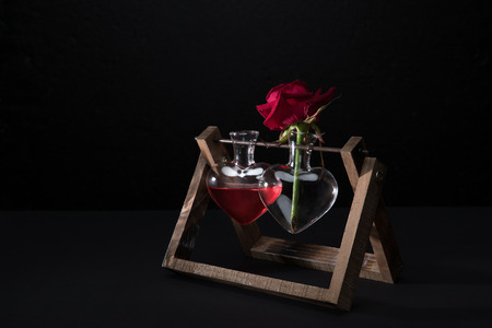 Red Rose In Heart Shaped Vase And Vase With Love Elixir Isolated