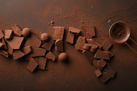 top view of arrangement of various types of chocolate, truffles and sieve with cocoa powder Фото со стока