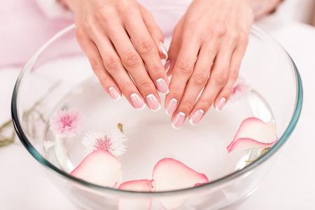 close-up view of female hands receiving spa treatment in glass bowl with rose petals Stock Photo - 93893330