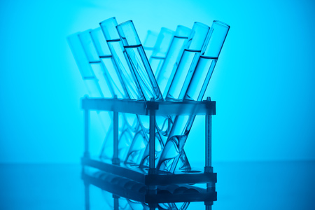 glass tubes with liquid on stand for chemical test Stock fotó