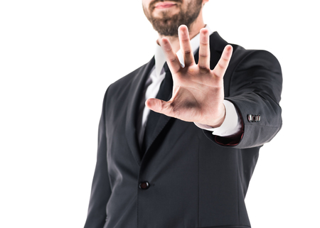 cropped view of businessman showing stop symbol, isolated on white  Stock Photo