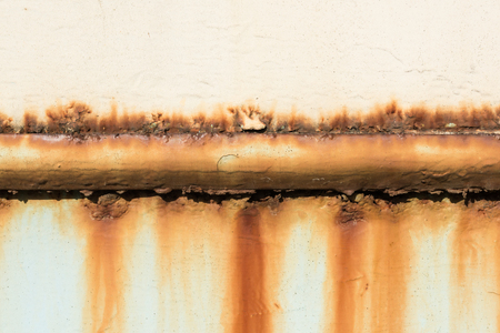 close-up view of old rusty pipe on wall background