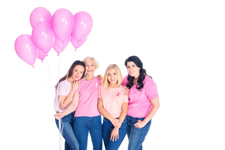 women with pink balloons Archivio Fotografico