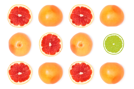 composition of fresh ripe grapefruits Banco de Imagens - 94157116