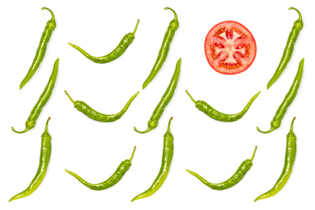 green peppers and tomato slice