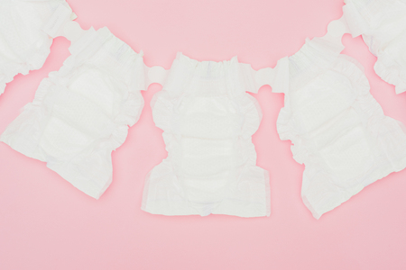top view of clean unused baby diapers 写真素材