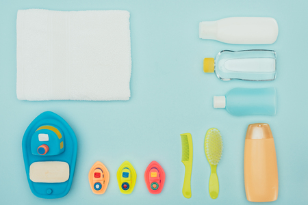 top view of baby toys and bathroom accessories