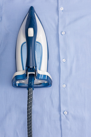 iron on blue shirt