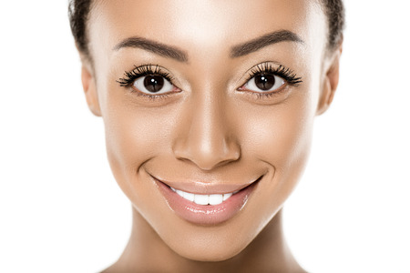 웃는 흑인 미국 여자