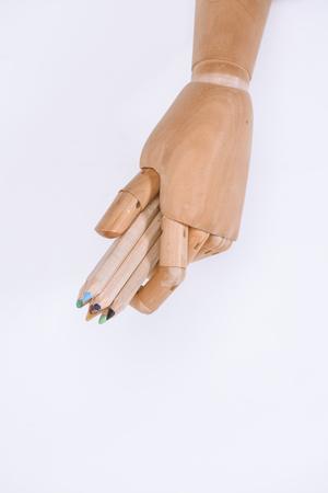 close-up beeld van dummy bedrijf kleurrijke pastel op wit wordt geïsoleerd