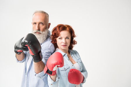 mature couple in boxing gloves Zdjęcie Seryjne