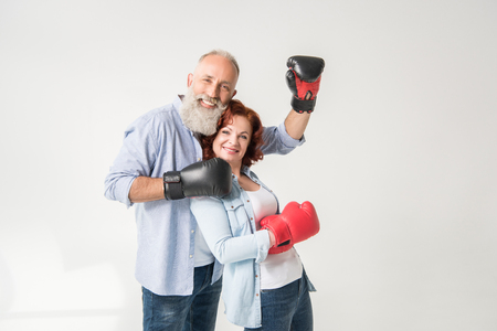 happy couple in boxing gloves