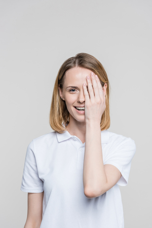 woman closing eye Stock fotó