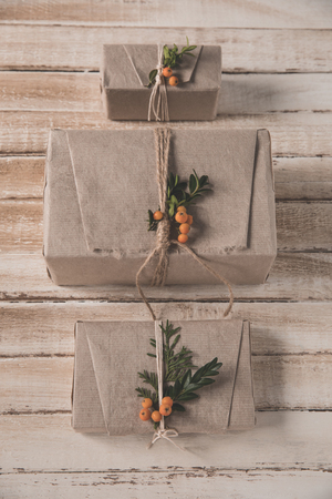 Christmas gift boxes in row