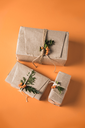 Christmas presents in craft paper