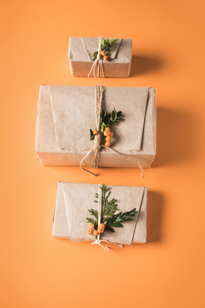 gift boxes in row Stock Photo