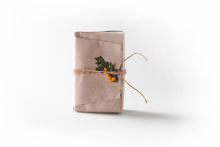 Christmas gift box in craft paper Stock Photo