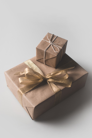 Christmas gift boxes wrapped
